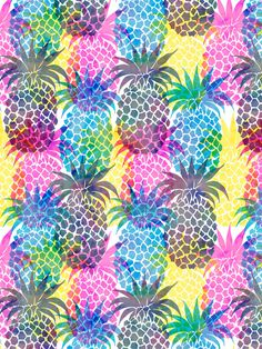 GRAPHIC PRINT | Pineapple CMYK Repeat Art Print by SchatziBrown #pineapple #tropical