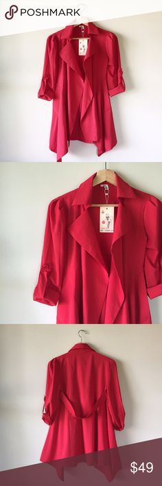 NWT || Red Lightweight Asymmetrical Hem Jacket NWT. Bright Cherry Red 3/4 sleeve lightweight asymmetrical coat with lapels. Fabric has some stretch. Fits Size small. Jackets & Coats