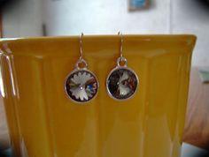 BlacK Ice..Swarovski Crystal Earrings