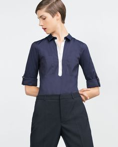 Image 2 of COMBINED DETAIL STRETCH POPLIN SHIRT from Zara