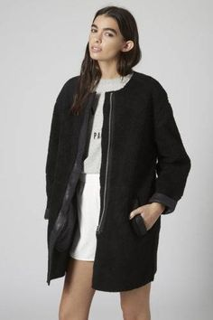 dee680882c1 Topshop Faux Shearling Cocoon Jacket available at