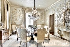 Richard Coleman designed this dining room using beautiful Gracie wallpaper.