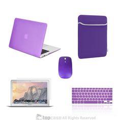 "TOP CASE 5 in 1 – Macbook Air 13"" Matte Case + Sleeve + Mouse + Keyboard Skin + LCD - PURPLE"