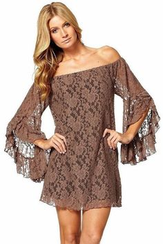 COWGIRL GYPSY DRESS Stretchy Lace Off the Shoulder Long Sleeve Western Mini Dress Tunic Top