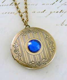 Locket Necklace Sapphire Blue Rhinestone by chloesvintagejewelry, $35.00