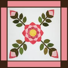 Sycamore Rose Block 4 with border. Barn quilt inspiration.