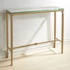 Lincoln Glass Top Gold Console Table