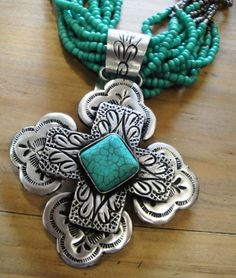 Turquoise Cross Pendant and Beads