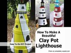 "What a wonderful neat idea to make a lighthouse from clay pots. Stacked and on top of it a light ( or perhaps even a solar garden light) this definitely makes for an eye-catching garden decoration. It's really easy to do and painting the lighthouse in the color of your choice will make it ""fit"" perfectly into your garden or backyard."
