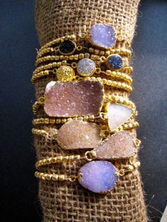 Stretchable 22k gold plated brushed beads with 22K gold dipped druzy,diamond purple bracelet, bridesmaid, birthday, sparkle, layered