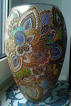 Купить или заказать ваза для цветов в интернет-магазине на Ярмарке Мастеров. стеклянная ваза, выполнена в стиле витражной…