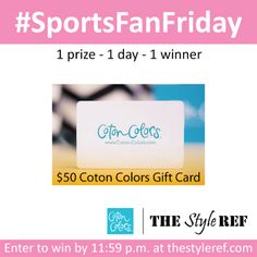 #SportsFanFriday #Giveaway from The Style Ref: TODAY, 9/27/13 ONLY! Enter to win a $50 @Coton Colors gift card. #home #kitchen #gift #cookiejar #platter #frame #sports #football #basketball #tennis #fishing #golf #baseball #hunting www.thestyleref.com