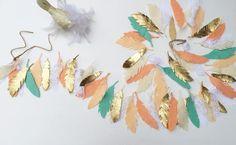 Feather Garland, Feather, Teepee, Felt Garland, Banner, Garland, Nursery Wall Decal, Babies room, Bunting, Nursery Decor, Feather Banner