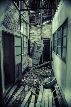A hallway in the abandoned Kanayama Hospital, Japan *
