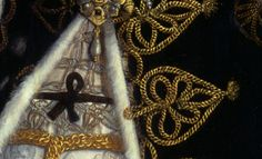 Detail of portrait of Catherine Carey.  Look at that gold and metal thread work.  Yum.