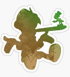 Boy and cricket Inspired Silhouette Sticker