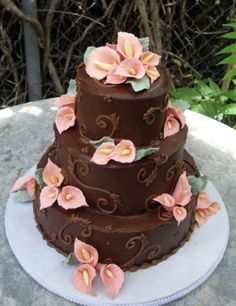 chocolate wedding cakes | ch4 ml s wedding cake dark chocolate ganache accents in chocolate ...