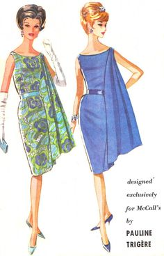 1960s Evening Dress Pattern McCall's 6599 Pauline Trigere Sleeveless Side Drape Sheath Dress Womens Vintage Sewing Pattern Bust 32 Uncut