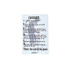 Cricket Linen Tea Towel
