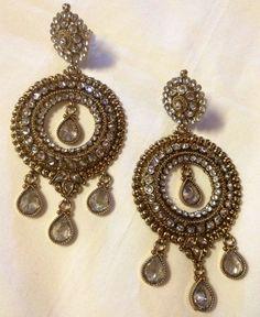 Kundan Earrings Bridal Earrings Gold Crystal by IsabelsTreasureBox, $34.99