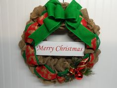 Merry Christmas Burlap Wreath, Holiday Wreath, Front Door Holiday Wreath, Red and Green Burlap Wreath, Green Burlap Bow, Natural  Burlap by BeautifulHomeAccents on Etsy