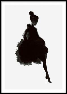 Plakat med kvinde i mørk silhuet på lys grå baggrund. stilfuld sort og hvid plakater, posters. www.desenio.dk