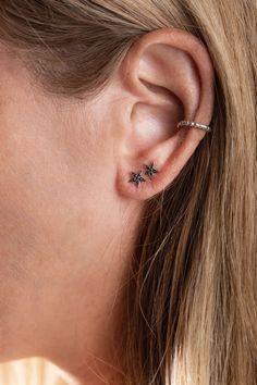 Trendy Boho star stud earring for women & girls. Diamond & 14K gold star post earring.