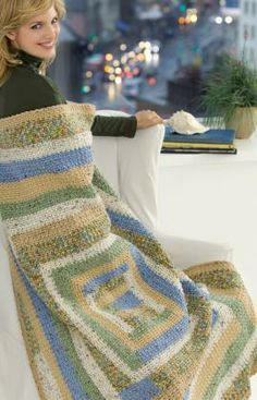 Crochet Folk Quilt Throw Free Pattern from Red Heart Yarns