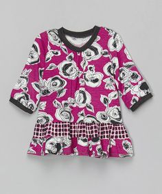 Loving this Pink & Charcoal Rose Top - Toddler & Girls on #zulily! #zulilyfinds