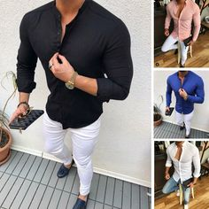 2019 Hot Men's Slim V Neck Long Sleeve Muscle Solid Shirt Casual Shirts Tops Blouse Men Fit Buttons Shirt Drop Shipping Fitted Dress Shirts, Long Sleeve Shirt Dress, Long Sleeve Shirts, Casual T Shirts, Casual Tops, Men Shirts, Men Casual, Slim Fit Dresses, Slim Man