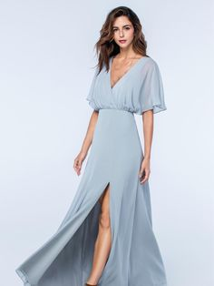 A stunning pale blue open back dress from the Watters Bridesmaids collection. This dress has been beautifully designed with a floaty dolman sleeved bodice and is complete with an intricate string tie at the back. Product name Lottie 2513 in French Blue. View more Bridesmaid dresses from our Watters collection at: http://www.baroqueboutique.co.uk/bridesmaids/ Photographs courtesy of: https://www.watters.com/watters/bridesmaids/