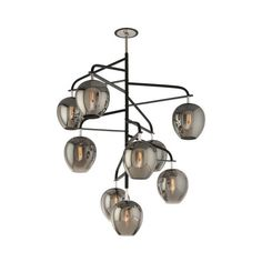 troy-lighting Odyssey 9 Light Pendant Light ($2,298) ❤ liked on Polyvore featuring home, lighting, ceiling lights, black shade, mounted lights, branch lamp, black lamp and tree branch light