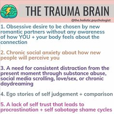 We now have evidence through brain scans that trauma changes the brain physically. A trauma brain becomes a filter through which we see… Mental And Emotional Health, Emotional Healing, Emotional Abuse, Mental Health Awareness, Emotional Awareness, Body Fitness, Fitness Gym, Nutrition Education, Physical Education