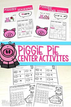 Kindergarten and first grade centers for the read aloud, Piggie Pie. Students will have fun practicing math and ELA skills with these adorable pig activities!