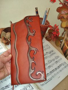 "Business Card Holder Tooled Leather Cover ""Ocean"""
