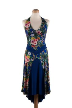 Flowy Floral Tango Dress.  An exquisite design for summer dance parties.    #tangodress #tangostyle #summer #argentinetango #tangoclotthes #elegant #floral