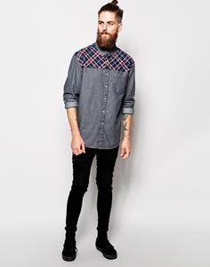 Enlarge ASOS Oversized Shirt In Long Sleeve With Check Yoke