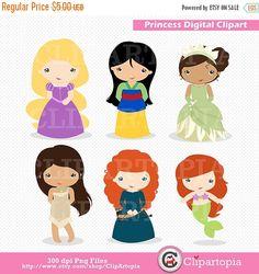 Lindas Princesas digital clipart para uso personal por ClipArtopia