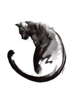 Black Cat Art Print by Mariusz Szmerdt Cat tattoo Black Cat Painting, Ink Painting, Watercolor Paintings, Watercolor Cat Tattoo, Cat Paintings, Painting Tattoo, Cat Watercolour, Watercolor Ideas, Black Cat Drawing