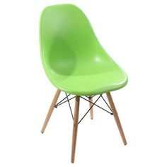 Green plastic chair with wooden legs