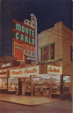 "Postcard of the Monte Carlo Club on Fremont Street in Downtown Las Vegas, circa 1945. From the UNLV Libraries ""Dreaming the Skyline: Resort Architecture and the New Urban Space"" digital collection."