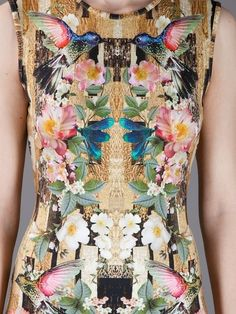 Alexander McQueen Hummingbird and dragonfly print Jersey Dress in Yellow floral .