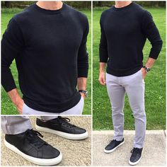 Sneakers and sweaters make an awesome late summer and early fall combination too❗️ Do you like this black and grey combo❓ ⚫️ Sneakers: Greats Royale Nero Sweater: DSTLD Watch: Hamilton Watch _______________________________________________________ Boy Outfits, Casual Outfits, Men Casual, Boy Fashion, Mens Fashion, Style Fashion, Fashion Outfits, Fashion Trends, Sweater Making