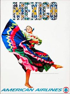 #vintagetravelposters Vintage Travel Posters, Vintage Ads, Vintage Airline, Travel Ads, Popular Art, Illustrations Posters, Poster Prints, Costume, Latin America