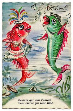 A cute vintage French April Fool's Day card. #vintage #April_Fools_Day #fish