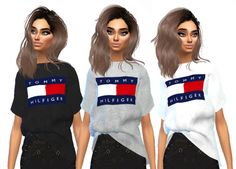 Sims runway - the new female t-shirt streetwear brand recolour. Sims 4 Mods Clothes, Sims 4 Clothing, Sims 4 Cc Skin, Sims Cc, Sims Four, The Sims 4 Pc, Vêtement Harris Tweed, Outfits For Teens, Girl Outfits