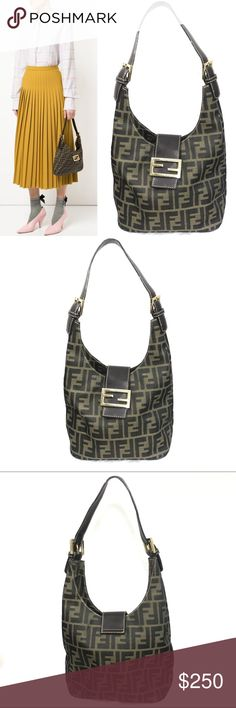 a4f72cab48ec FENDI Vintage Zucca Monogram Canvas Shoulder Bag   FENDI Vintage -  70 s 80 s Era   Zucca monogram shoulder bag with brown and black canvas    Leather strap ...