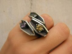 Mineral Rings (3) i love these but i would make them less geometric and more flowing in design