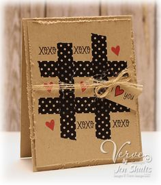 handmade Valentine card ... kraft ... grunged up edges ... black washi tape tic-tac-toe grid ... hugs and kisses or hearts fill the spapces ... fun card ... Verve stamps #Handmadevalentinescards