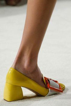 Yellow buckled Miu Miu modish block heels